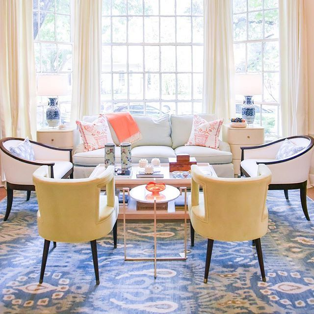 Chartreuse Chairs, Blue Rug, Tangerine Throw | Bright And Colorful Living  Room | Blue