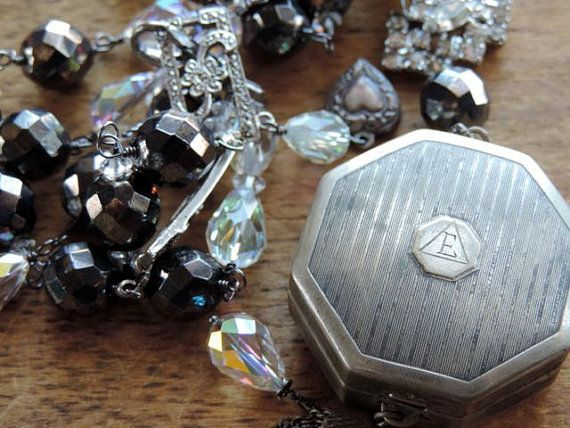 Antique Victorian Compact Crystal Beads Dark Gray by WhatOnceWas, $264.00