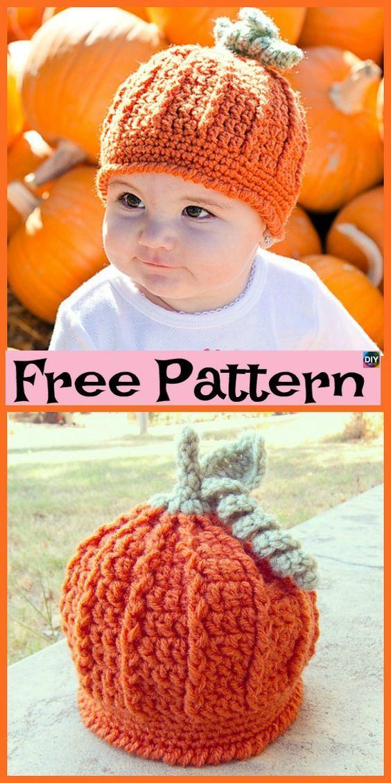 8 Cutest Crochet Pumpkin Hat Free Patterns | Mützen | Pinterest ...