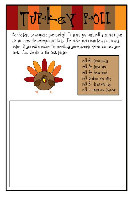 Roll a Turkey Game for kids on Thanksgiving Printable Whatever