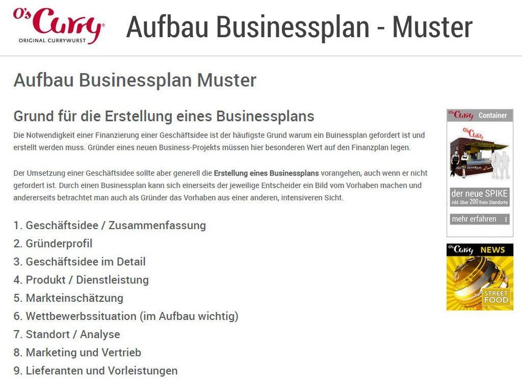 Aufbau Businessplan Muster Grund für die Erstellung eines ...