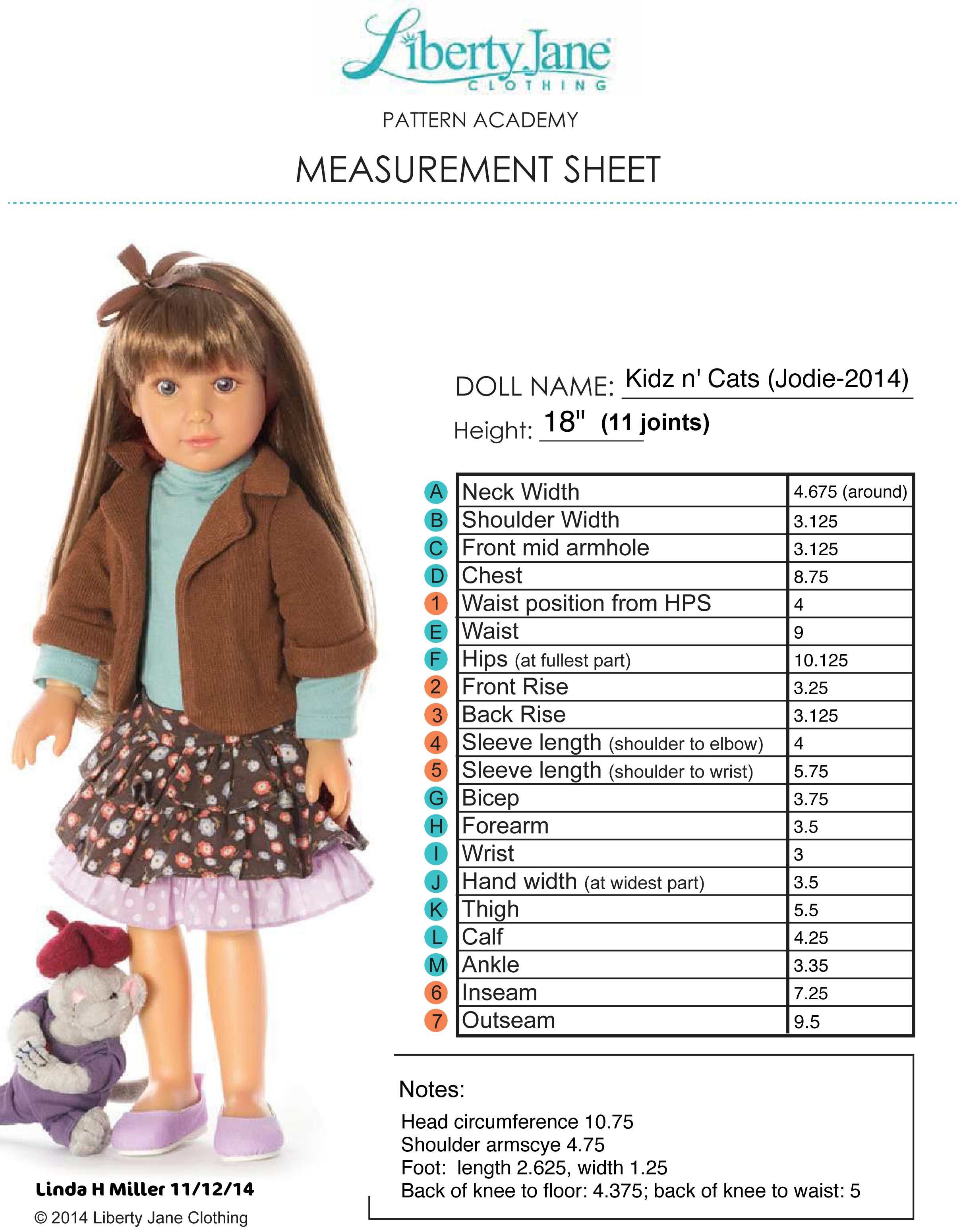 Measurements for Kidz n\' Cats doll, Jodie. | Dolls - size ...