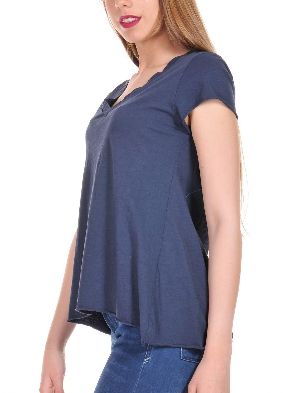 9c4de93a093d ATTRATTIVO Γυναικεία μπλέ κοντομάνικη φλάμα μπλούζα V