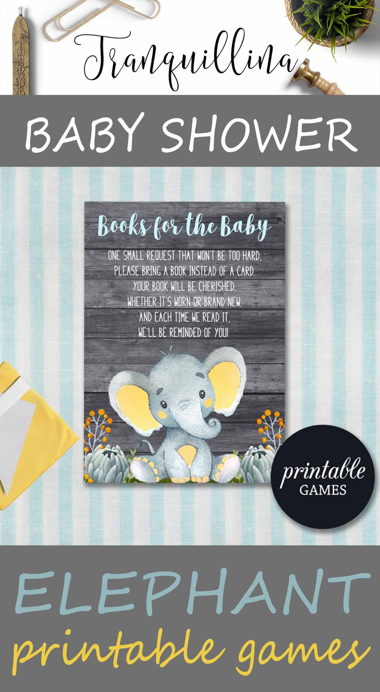 Baby shower bring a book card elephant book request