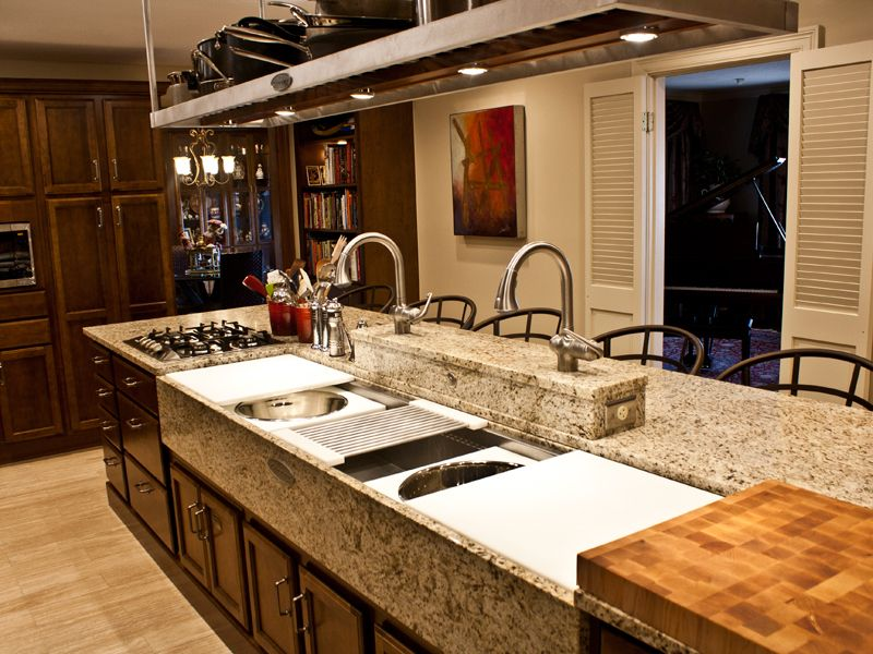 Remove arch and seperate rooms with long island contrast wooden this is the coolest sinkkitchen accessory workwithnaturefo