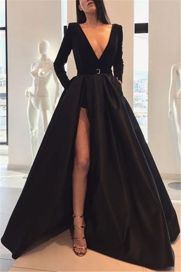 Sexy Long-Sleeved Waist Open Slit Maxi Dress