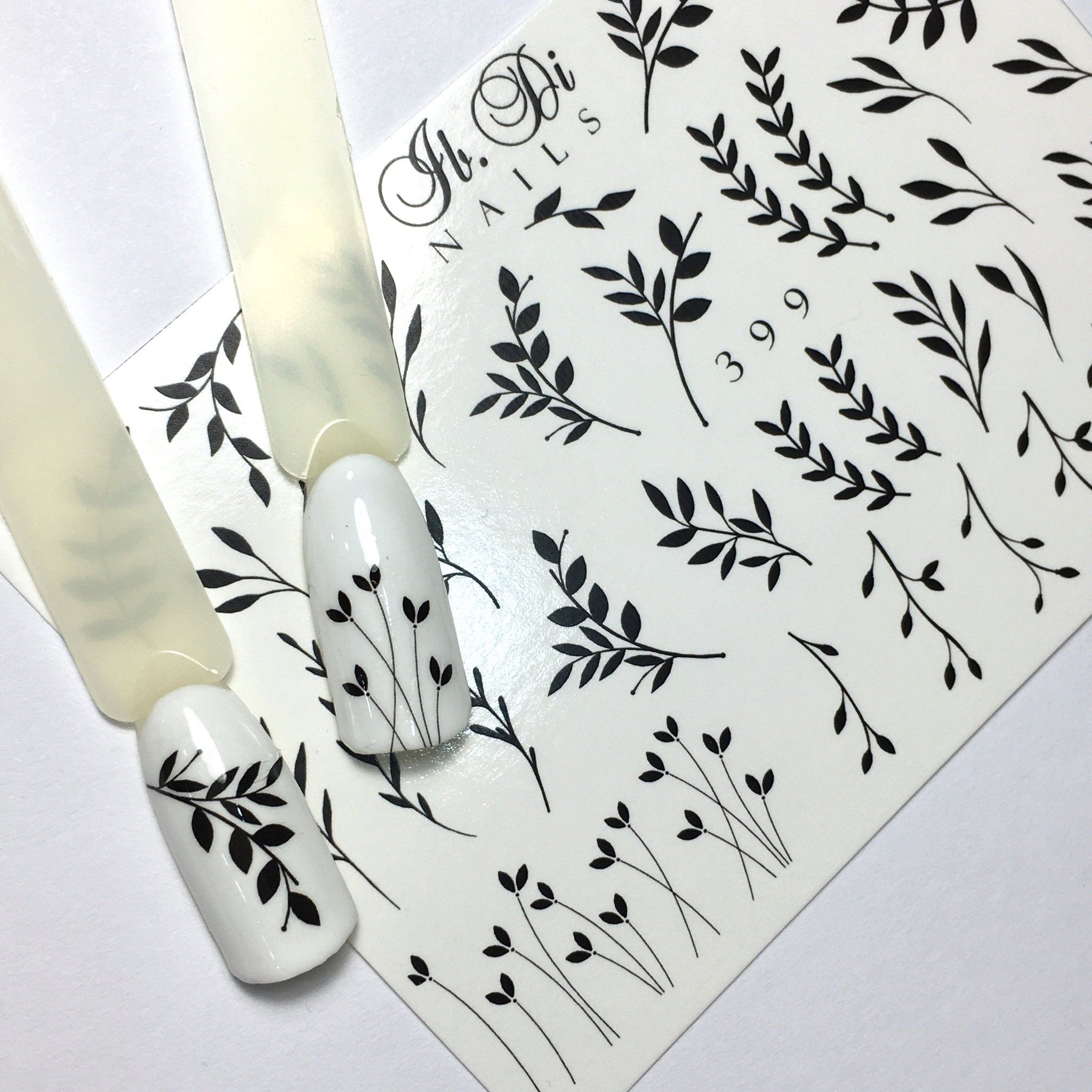 Ibdi B W Leaf Nail Decals Sliders In 2020 Nail Decals Designs Nail Decals Manicure