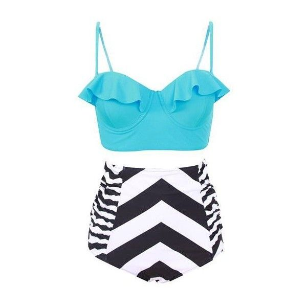f3fc36612a Rotita High Waist Striped Flouncing Two Piece Swimwear (69 BRL) ❤ liked on Polyvore  featuring swimwear, bikinis, swimsuits, bathing suits, bikini, blue, ...
