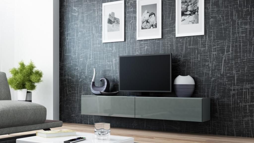 Tv Board Lowboard Vigo Hangeschrank Wohnwand 180cm Farbe Grau