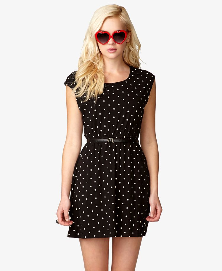 Polka Dot Dress w/ Skinny Belt | FOREVER21 - 2038237367