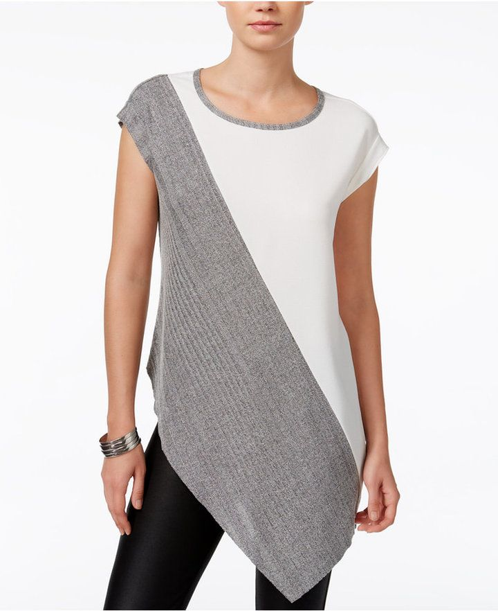2464cfc37f544 Bar III Colorblocked Asymmetrical Top