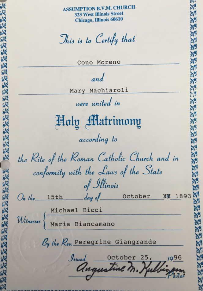 Marriage Certificate Cono Moreno and Maria Macchiaroli   My Italian ...