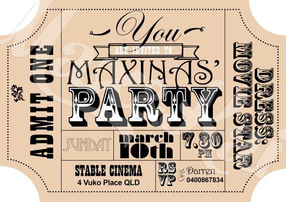 Ticket Time Custom Printable Invitation Diy Custom Printable