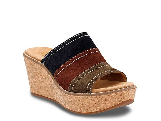 caf48b5420 Women Aisley Lily Wedge Sandal -Navy/Brown/Green | Products | Shoes ...