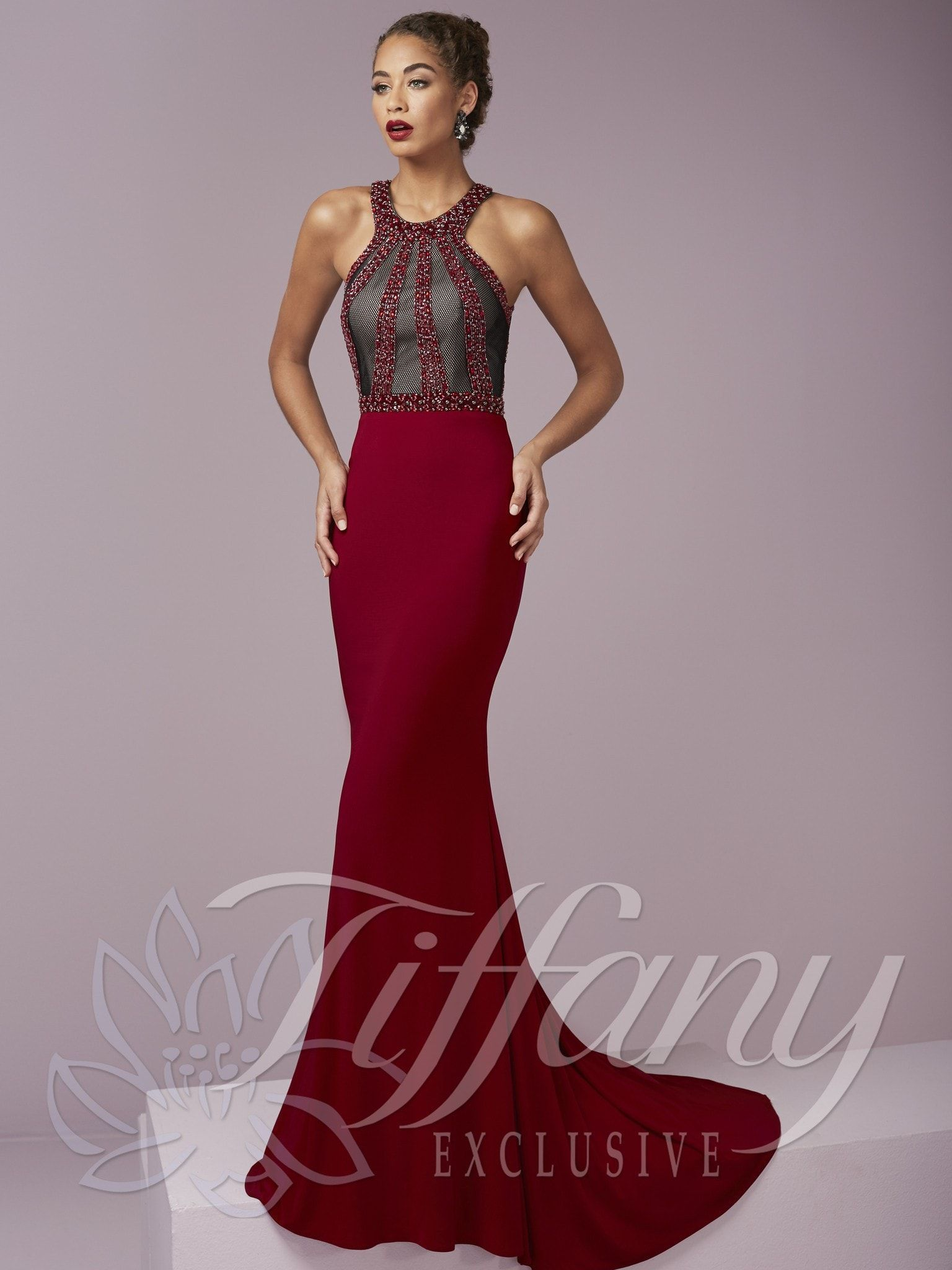 Tiffany exclusives red halter neck cut out back prom dress