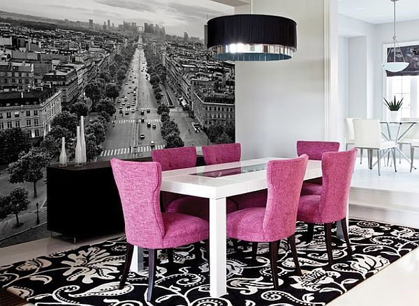 Wallpaper Designs for Dining Room with Stunning Inspiring Decoration: Dining Room Wallpaper Design With Views Of The City Pink Chair White Wall ~ dropddesign.com Contemporary Home Design Inspiration