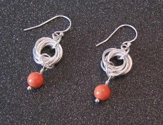 Handmade Sterling Silver Rosette Chainmaille Earrings with Salmon Swarovski…
