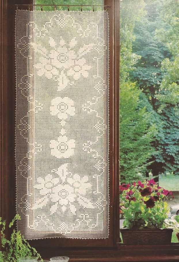 Patrón #456: Cortina a punto de red a Crochet #ctejidas http://blgs ...