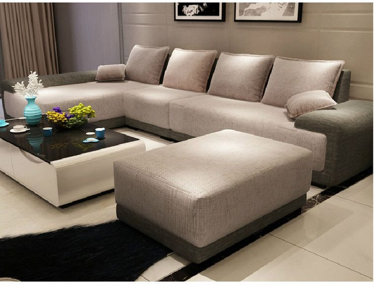 Modern Italian Furniture Simple Style Super Big Size Living Room Furniture  L Shape Fabric Sofa