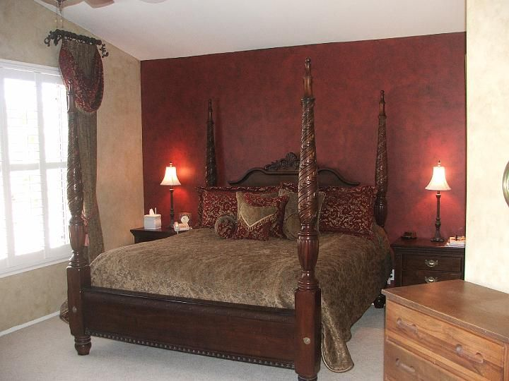 Master bedroom burgundy walls like this a home of my for Maroon bedroom designs