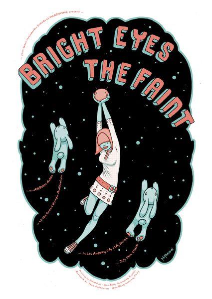Bright Eyes/ The Faint - gig poster by Tara McPherson