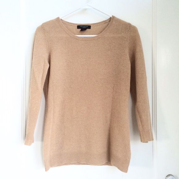 Ann Taylor Camel Cashmere Sweater | Sweater design, Cashmere ...