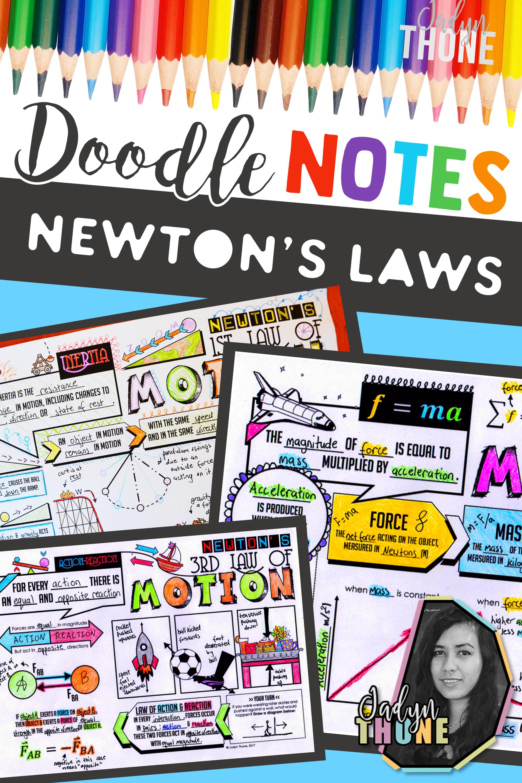 Newton S Laws Of Motion Doodle Notes Bundle Doodle Notes Newtons Laws Of Motion Newtons Laws