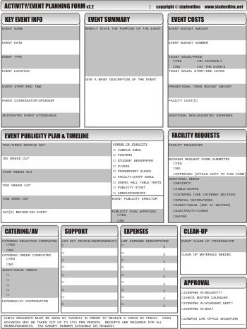 studentlinc Event Planning Worksheet Updated  Revised