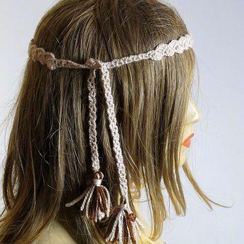 Crochet Headband Boho bohemian Hippie Hair Accessories handmade hairband tassel Headband  Headbands for Women gift ideas Women's Fashion