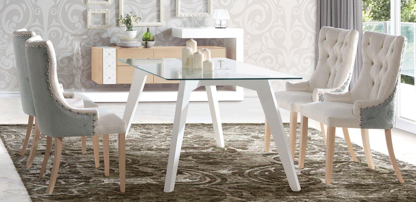 Mesa de comedor de diseño tapa cristal templado - dm | Muebles de ...
