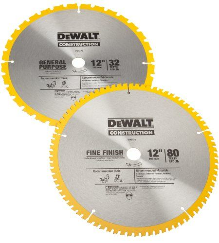 Dewalt Dw3128p5 Series 20 12 Inch 80 Tooth 12 Inch 32t Atb Thin Kerf Crosscutting Miter Saw Blade With 1 Inch Arbor 2 Pa Circular Saw Blades Miter Saw Dewalt