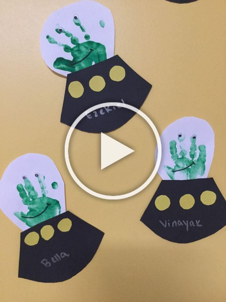 Space alien handprint art project Great crafts for children at home preschool