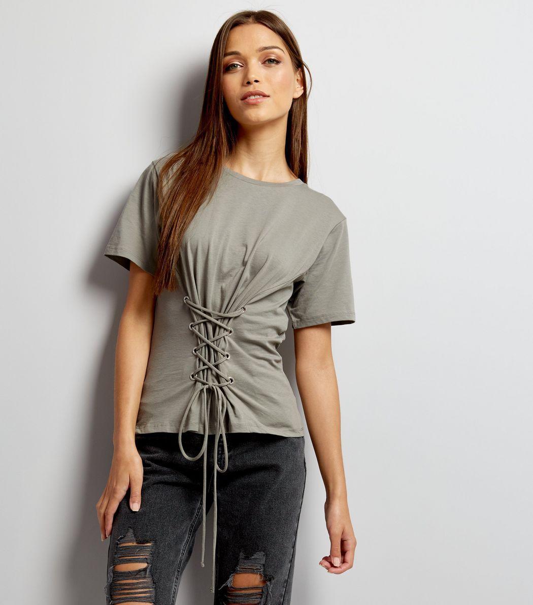 Dark Grey Lace Up Corset T-Shirt