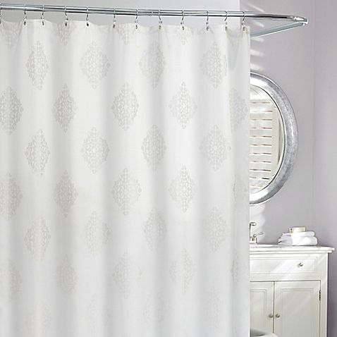 Remy Medallion Shower Curtain In Grey White Bed Bath Beyond