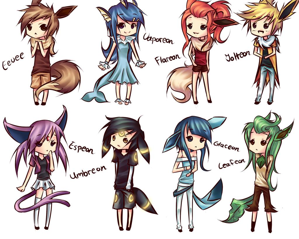 human version gijinka pokemon, eevee, vaporeon, flareon, jolteon ...