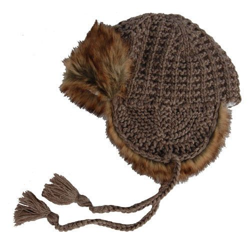 Hat Attack Faux Fur Knit Trapper - Taupe--ON SALE!