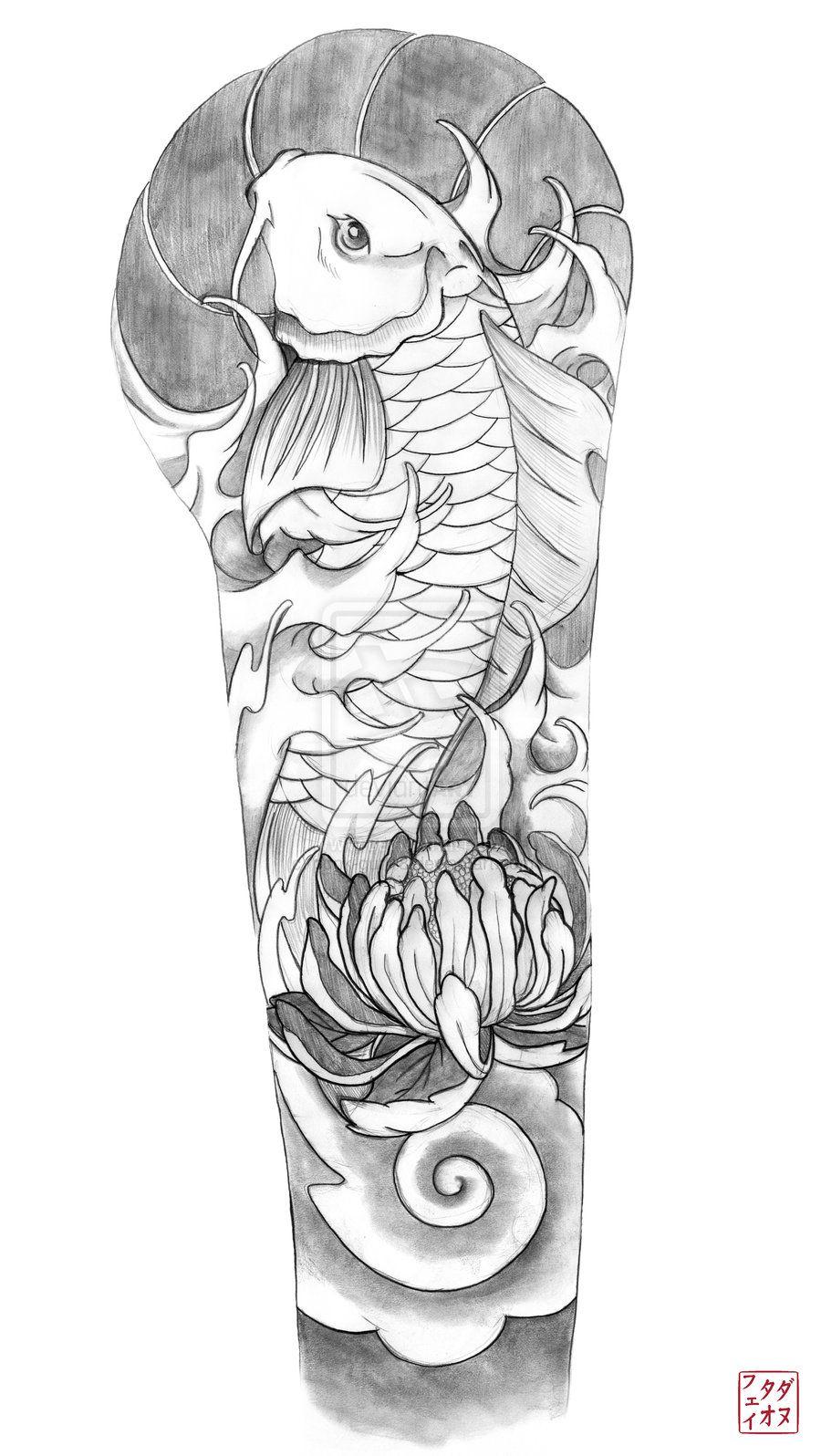 Koi Sleeve Tatuagem de meia manga, Tatuagem braço, Tatuagem