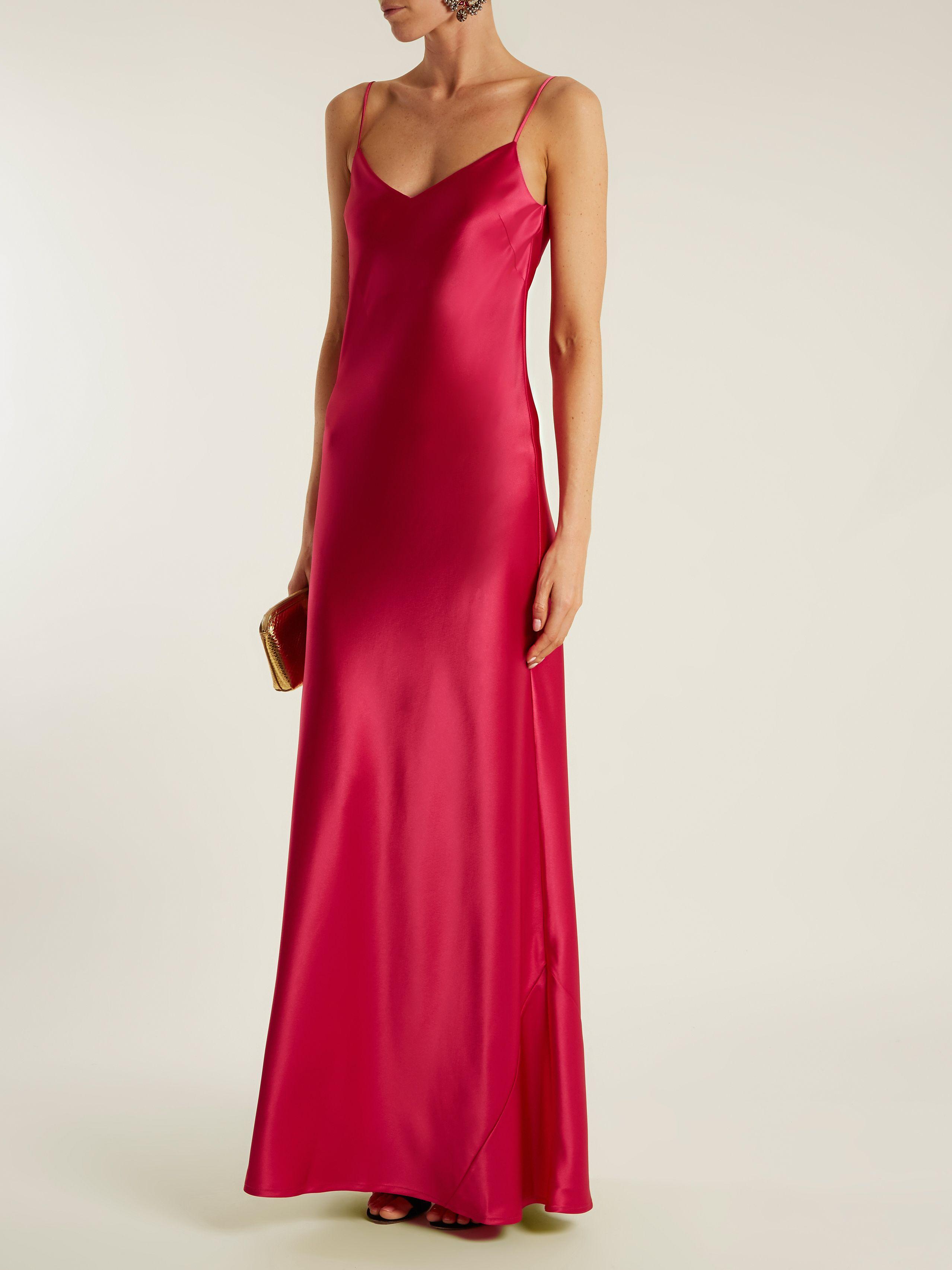 Bias-cut satin-back crepe gown Galvan KlCHktyh