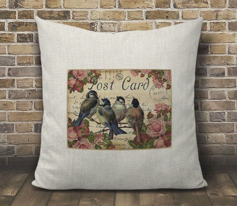 Birds And Roses French Country Paris Design Faux Burlap Pillow Cover 16 X
