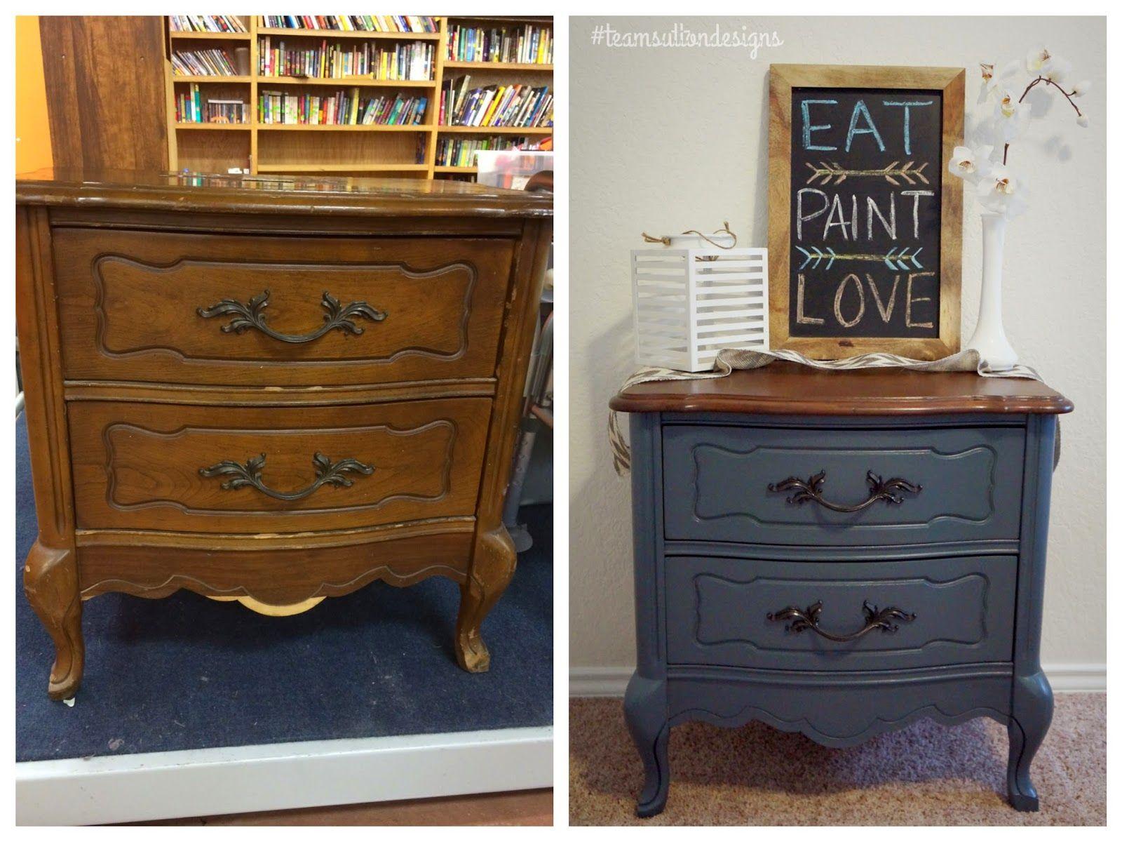 Best Blue Slate Nightstand Team Sutton Designs Painted 400 x 300