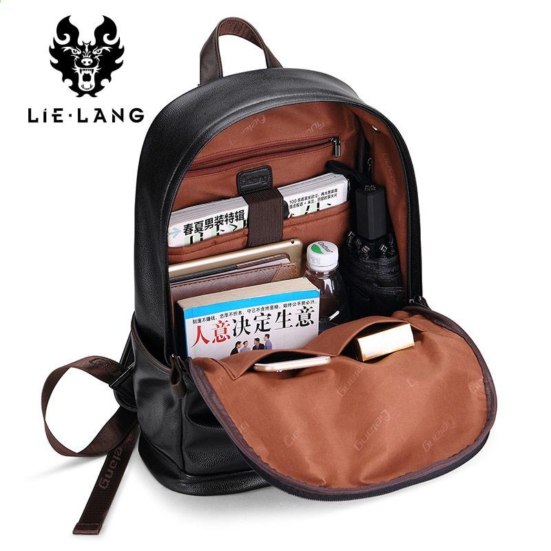 f12836ce24 Lielang uomini di marca zaino in pelle maschile funzionale borse uomo zaino  impermeabile pu grande capacità