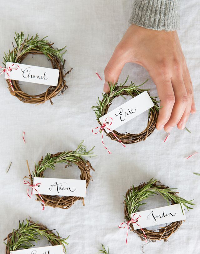 Rosemary Wreath Place Cards (Camille Styles) #spraypainting