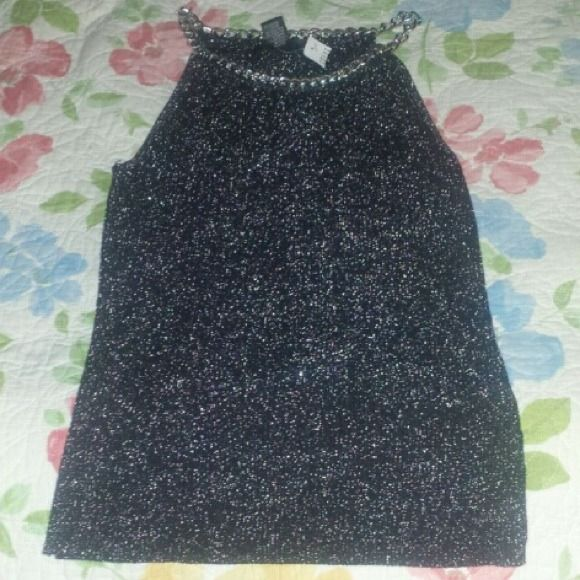 Glittery Tank Top Has light silver chain collar. Dark gray with golden glitter threads. august silk Tops Tank Tops