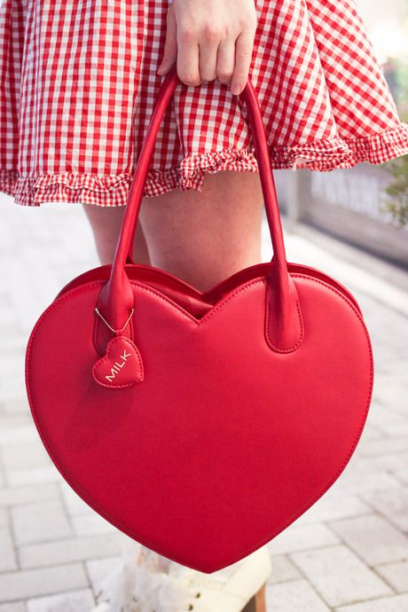 Wir Milk Heart Shaped Red Handbag Gingham