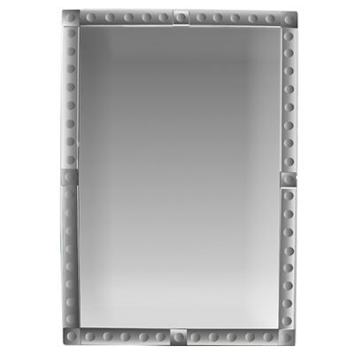 Large rectangular mirror with mirrored frame lined with convex ...