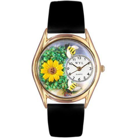 Whimsical Womens Sunflower Black Leather Watch