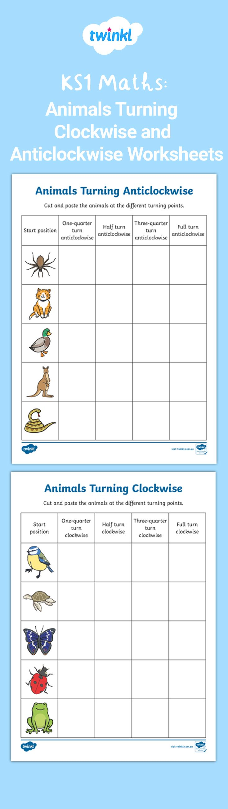 Animals Turning Clockwise and Anticlockwise Activity Sheets   Turn ons [ 2610 x 735 Pixel ]