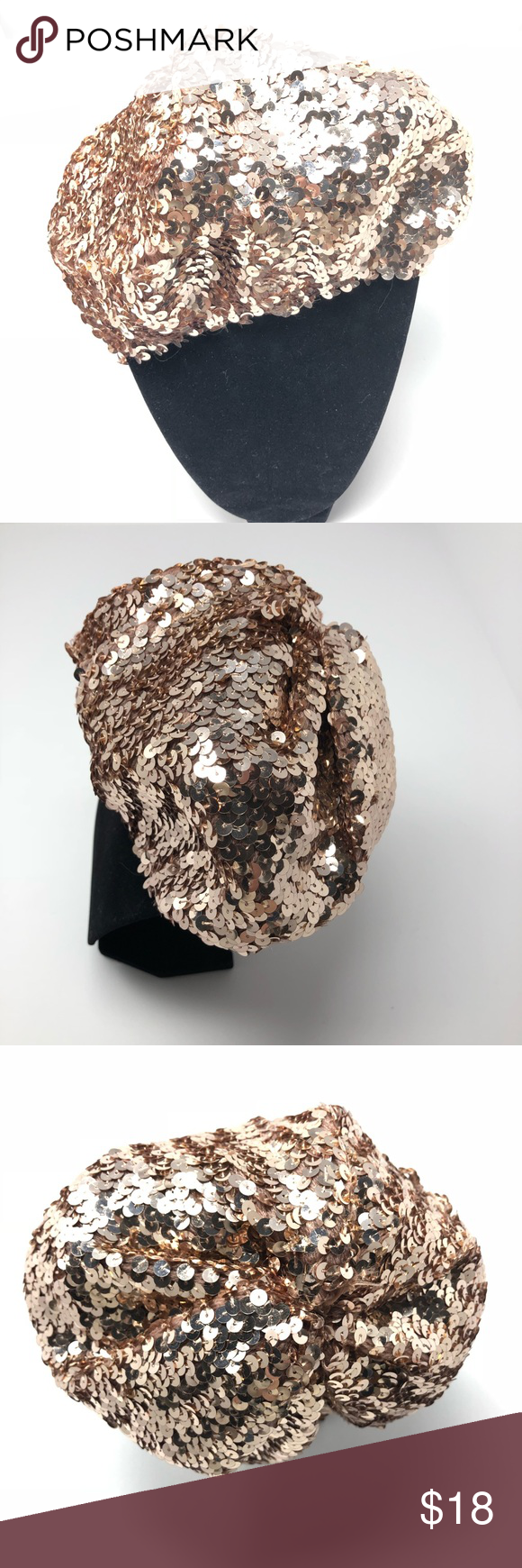 7bb814b2f5130 NWT Evelyn K Rose Gold Sequin Beret 0199 NWT Evelyn K Rose Gold Sequin Beret.  Very stretchy. One size fits all most. Slouchy. Metallic. Nordstrom  exclusive.