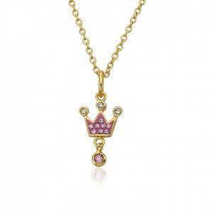 Pretty Princess Pink Crown Pendant Necklace