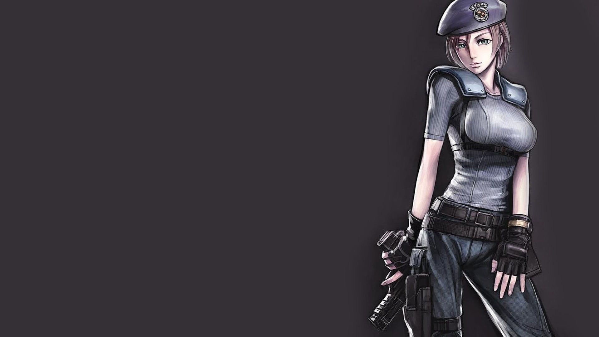 Resident Evil Jill Valentine Anime Simple Background Video Games